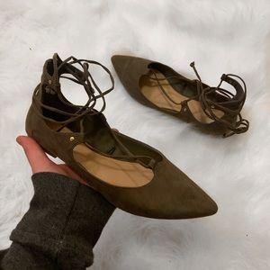Olive green pointed toe lace up flats